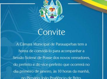 Convite para Sessão Solene de posse dos novos vereadores, do prefeito e vice-prefeito de Parauapebas