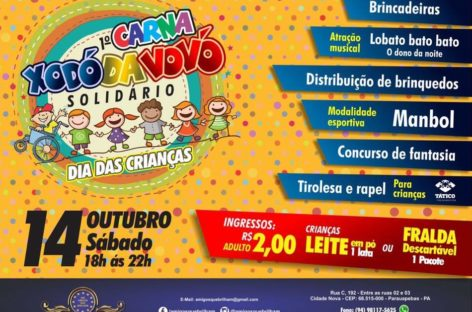 "Grande campanha da ""Folia Solidária Infantil"" do Instituto beneficente amigos que brilham"